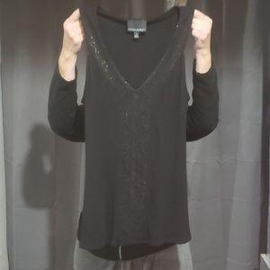 Cynthia Rowley black sleeveless sequin top SZ L
